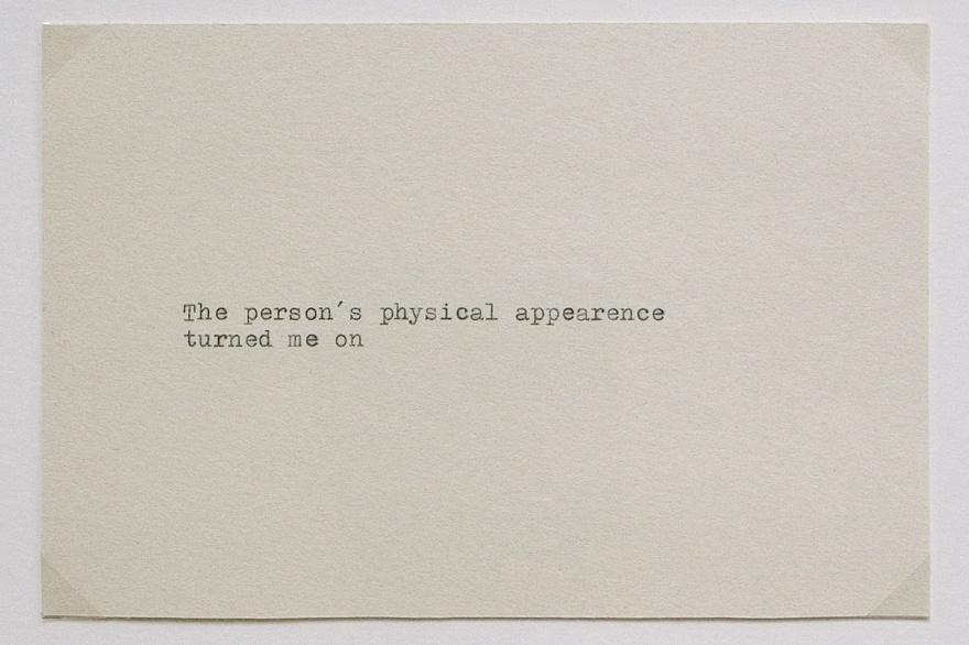 APPEARANCE,Schreibmaschine auf Papier, 10x15 cm